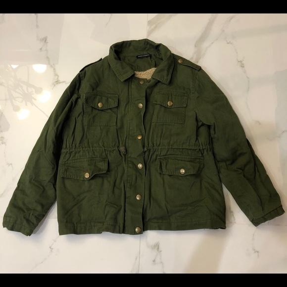 Brandy Melville Green Utility Jacket with Fleece